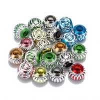 Mixed Color Hollow Carved Aluminium Spacer Beads Big Hole Loose Beads DIY
