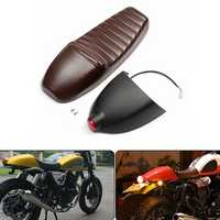 Motorcycle Cafe Racer Seat Cushion Refit Saddle W/ Tail Light For Honda/Suzuki/Yamaha