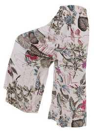 Women Cotton Elastic Waist Side Pockets Print Trousers Pants