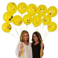 12Inches Random Smile Balloon Festive Balloon Cartoon Expression Balloon Yellow Inflatable Toys