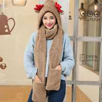 Womens Multi-purpose Cashmere Antlers Hood Hat Scarf Gloves