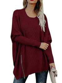 Women Casual Crew Neck Long Sleeve Loose Knit Sweaters