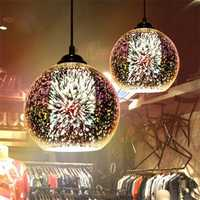 Creative 3D Color Glass Ball Ceiling Light Chandelier Restaurant Light Fixture Home Bar Decor