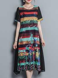 Vintage Floral Print Irregular Chiffon Dress