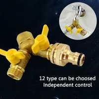 2 Way Garden Hose Splitter Y Ball Valve Connector Outdoor Faucet Sprinkler Drip Irrigation System