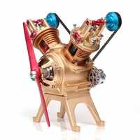 Teching Double Cylinder Full Aluminum Alloy Engine Model Collection