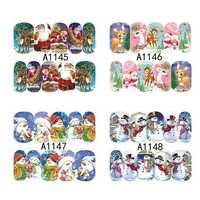 12 sheets Christmas Style Nail Art Decoration Sticker Snowman Elk Water Transfer Decal