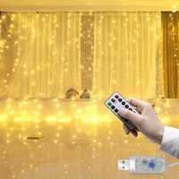 LUSTREON 3M*3M USB 15W IP67 8 Modes Remote Control 300 LED Curtain Fairy String Holiday Light DC5V