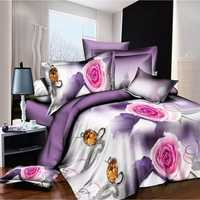 4pcs 3D Flower Bedding Set HomeTextiles With Quilt Cover Bed Sheet Pillow Case