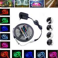 5M SMD5050 Non-Waterproof RGB 150 LED Strip Flexible Light Kit + IR Controller + Power Adapter DC12V