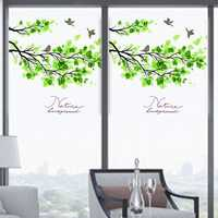 60x58cm Frosted Opaque Glass Window Film Tree And Bird Privacy Glass Stickers Home Decor