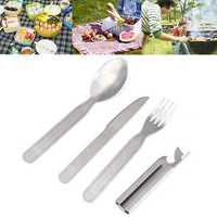 4pcs Set Portable Tableware Outdoor Picnic Stainless Steel Spoon Fork Knife Can Opener Camping Tools