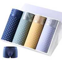 4 Pieces Mens Mesh Breathable U Convex Ice Silk Comfy Boxer