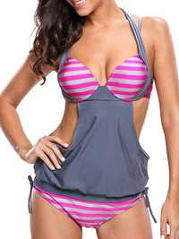 2pcs Elastic Stripe Patchwork Monokinis Swimsuit