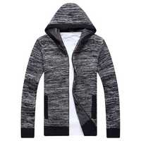 Fall Men White Wool Hooded Cardigan High Quality Sweater Fashion Casual Knit Jacket