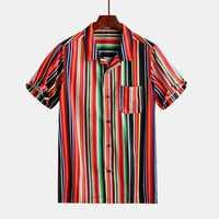 Mens Summer Stripe Printing Buttons Practical Pocket Shirts