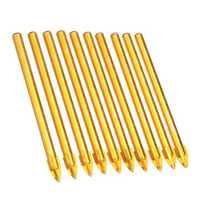 10Pcs 6mm Titanium Ceramic Tile Glass Drill Bit 4.5mm Shank Cross Spear Drill Bit