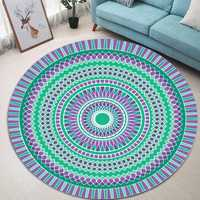 Green Blue Bohemia Mandala Pattern Carpet Soft Round Floor Mat Carpet Kids Play Mat