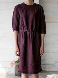 Elegant Loose Elastic Waist Pure Color 3/4 Sleeve Dress