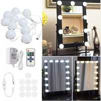 3.3M Dimmable 10Bulbs LED Vanity Mirror Lights DC12V+Dimmer Remote Control US Plug DC12V