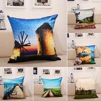 Landscape Oil Painting Throw Pillow Case Soft Sofa Car Office Back Cushion Cover