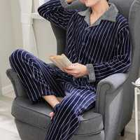 Mens Flannel Thick Warm Winter Sleepwear Suit Pajamas Set