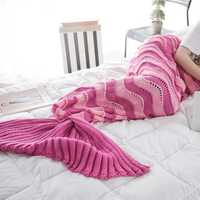 95x195CM Yarn Knitting Mermaid Tail Blanket Wave Stripe Warm Super Soft Sleep Bag Bed Mat