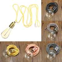 E27 3M Wire Vintage Fabric Flex Cable Pendant Light Bulb Adapter Lamp Holder Socket