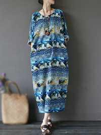 Vintage Women Batwing Sleeve Printed Loose Maxi Dress