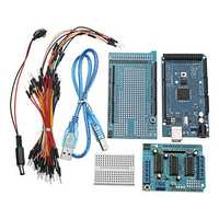 MEGA2560 R3 Microcontroller With Prototype Board + L293D Motor Drive Shield For Arduino
