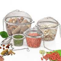 Stainless Steel Ball Shape Tea Filter Spice Seasoning Bag Mesh Basket Infuser Tea Strainer