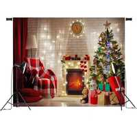 7x5FT Red Christmas Tree Gift Chair Fireplace Photography Backdrop Studio Prop Background