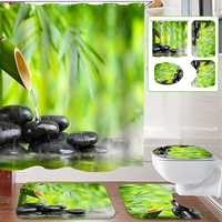 Bamboo Stone Non-Slip Rug Toilet Lid Cover Bath Mat Shower Curtain With 12 Rings