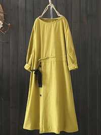 Drawstring Waist Solid Vintage Dress