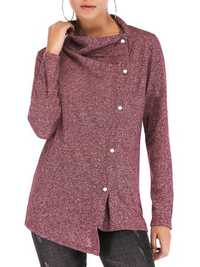 Women Side Button Solid Color Stand Collar Sweatshirt