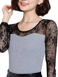 Elegant Women Hollow lace Patchwork Long sleeve Slim T-Shirt