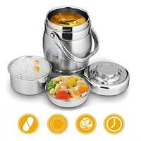 1.6L/2L Thicken Stainless Steel Insulation Barrel Leak-Proof Bento Lunch Box