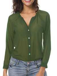 Women Semi-sheer Chiffon Long Sleeve Short Shirts
