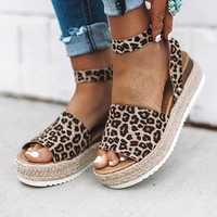 Large Size Peep Toe Buckle Casual Platform Wedge Sandals