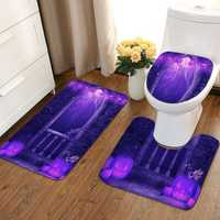 3Pcs Halloween Non-slip Soft Bath Pedestal Mat Toilet Lid Carpet Bathroom Washable Rug Set