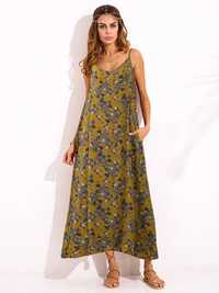 Bohemian Women Spaghetti Strap Print Maxi Dress