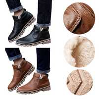 Men Winter Warm Snow Boots Faux Leather Casual Waterproof Thermal Ankle Shoes