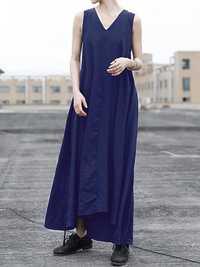 Women Sleeveless Back Waist Solid Color Maxi Dress