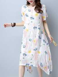 Casual Women Floral Printed Short Sleeve Irregular Hem Midi Dress