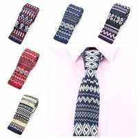 PenSee Men's Neckties Snowflake Plaids Slim Skinny Knitting Leisure Tie