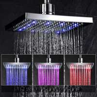 Bathroom No Battery 8 Inch LED Automatic Tempertrue Sensor Control Shower Head 3 Color Light