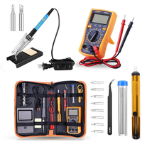 13Pcs 60W Electric Solder Iron Multimeter Adjustable Temperature Welding Tool Set