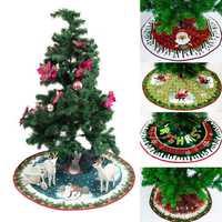 90cm Christmas Santa Tree Skirts Ornament Dress Mat Border Party Decorations