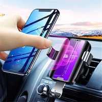 Joyroom Glass Surface 5W Qi Wireless Charger Gravity Auto Lock Car Holder for iPhone XS XR Mobile Phone