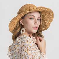 Womens Woven Straw Wide Brim Flat Bill Cap Beach Floppy Hat